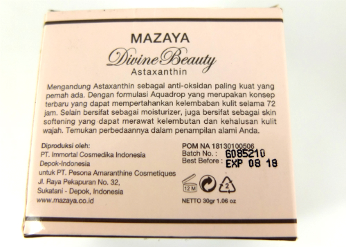 review gratis Mazaya Moisturizer Cream with Astaxanthin