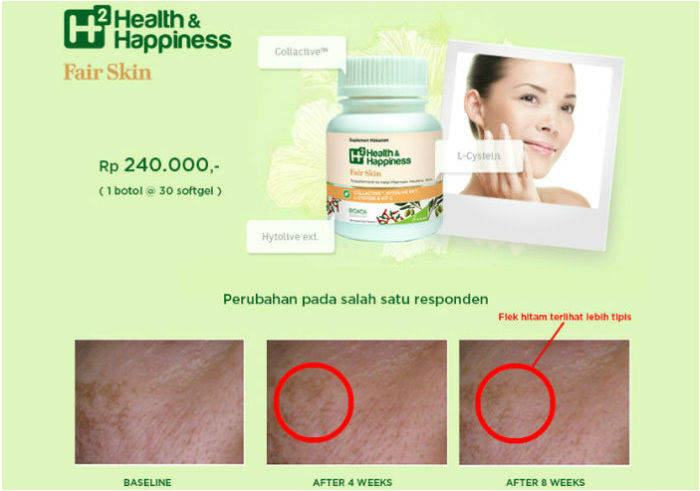 review gratis Suplemen Kulit H2 Health & Happiness Fair Skin