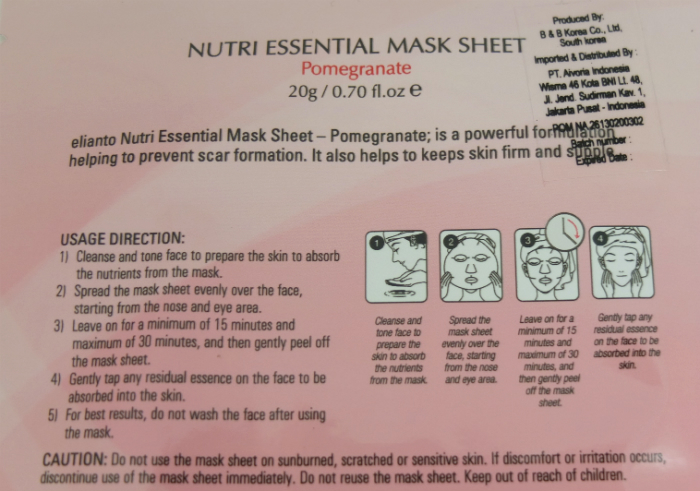 review gratis Masker Wajah Elianto Nutri Essential Mask Sheet Pomegranate