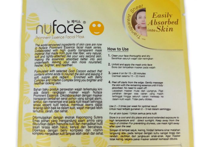 review gratis Nuface Prominent Essence facial Mask Gold Cocoon