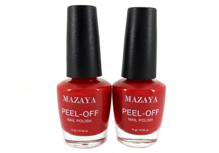 review gratis Mazaya Peel Off Nail Polish Glamour Red
