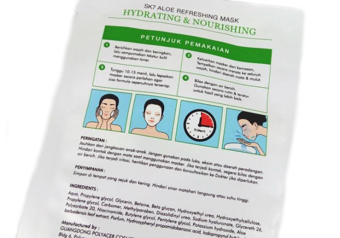 review gratis Masker Wajah SK7 Aloe Refreshing Mask Hydrating & Nourishing