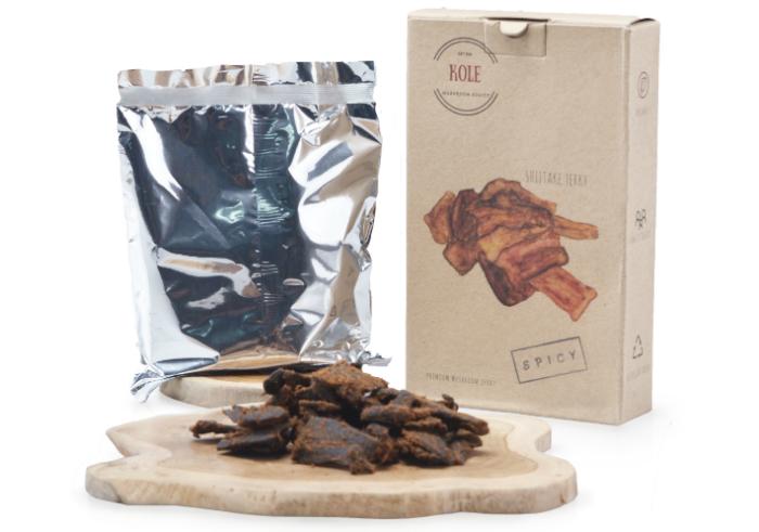 review gratis Kole Dendeng Jamur Shiitake Pedas