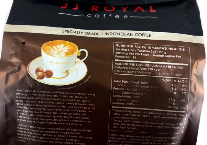 review gratis Kopi tubruk JJ Royal Coffee Hazelnut Latte