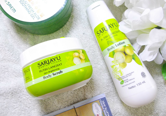 image review Sariayu Putih Langsat Body Scrub dan Body Lotion