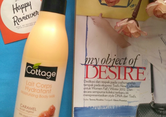 gambar review ke-1 untuk Cottage Lait Corps Hydratant Moisturizing Body Milk Caramel