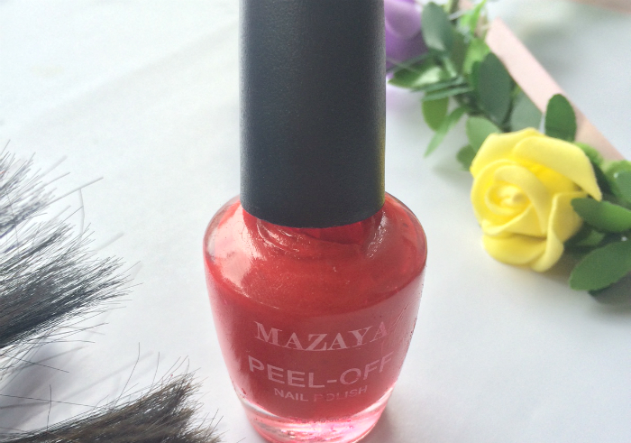 image review Mazaya Peel Off Nail Polish Glamour Red
