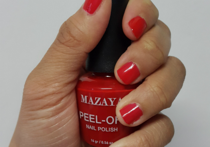 image review Mazaya Peel Off Nail Polish Glamour Red