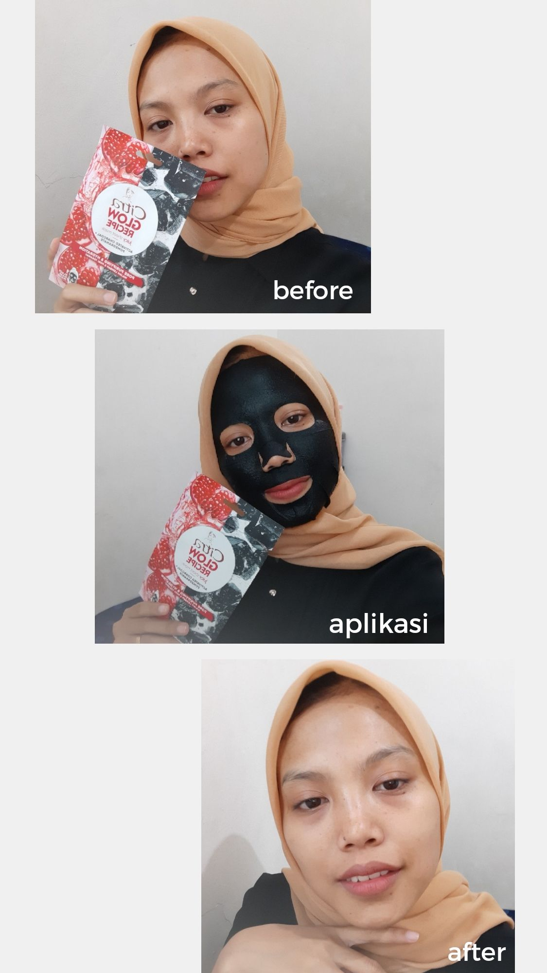 image review Citra Glow Recipe Juicy Sheet Mask Activated Charcoal + Pomegranate